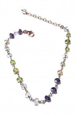 Bracciale rosario pietre multicolore argento