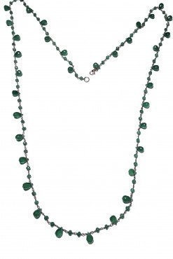 Collana rosario Onice Verde Argento