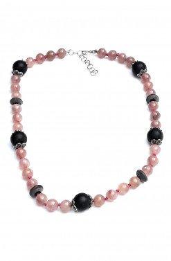 Girocollo pietre rosa nere argento