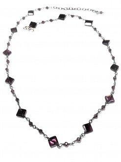 Girocollo rosario granati quadrati argento