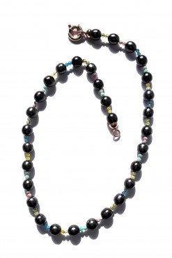 Girocollo perle nere argento dorato