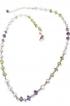 Girocollo rosario multicolore argento rosa