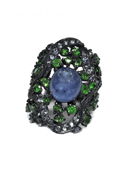 Anello design Tanzanite Argento nero