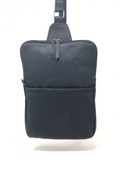 Zaino mono-spalla pelle blu-notte artigianale
