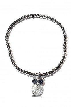 Bracciale palline argento + charm Gufo occhi blu