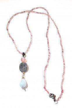 Collana quarzo rosa acquamarina argento