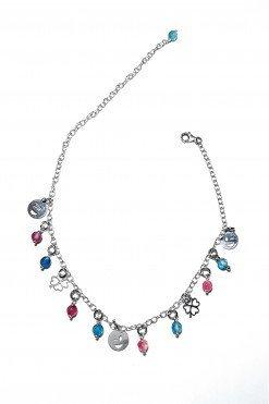 Cavigliera argento charm smile + pietre