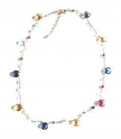 Girocollo rosario pietre multicolore gocce sfere