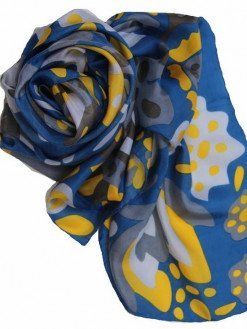 Foulard seta carré Blu Giallo Giverny