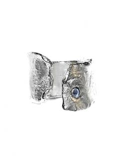 Fascia argento grezzo zaffiro